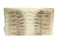 Cream Early 2000's IRV  CROCODILE Skin Clutch Shoulder Bag
