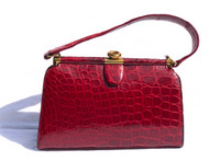 RED 1940's-50's CROCODILE Skin Handbag - ARGENTINA