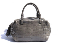 Early 2000's GRAY Alligator Belly Skin Handbag Shoulder Bag SATCHEL - SUAREZ