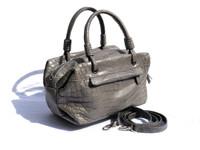 Early 2000's GRAY Alligator Belly Skin Handbag Shoulder Bag SATCHEL - SUAREZ