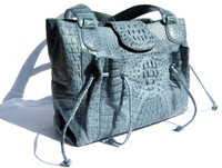 Early 2000's  POWDER BLUE Hornback Crocodile Skin Satchel Shoulder Bag