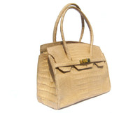 Light TAN CROCODILE Belly Skin BIRKIN Bag SATCHEL Shoulder Bag - HERMES Style!