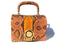 "SACHA France 1950's-60's Dyed BOA Snake Skin ""LUNCHBOX"" Purse"