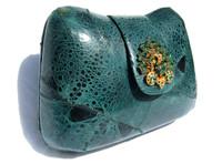 Jeweled GREEN 1970's GENUINE FROG SKIN Clutch Shoulder Bag