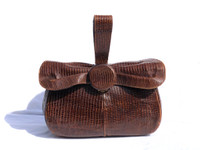 1940's-50's DECO Style Brown LIZARD Skin Handbag