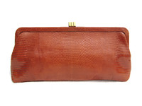 Early 2000's CHESTNUT Brown Lizard Skin Clutch - Lambertson Truex