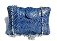 Hard-Sided PRINCESS BLUE 1970's-80's SNAKE SKIN Clutch Bag