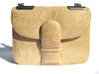 Light SOYBEAN Tan 1950's-1960's TURTLE Skin Shoulder Bag