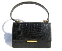 LEDERER Hermes Style 1950's-60's Black CROCODILE Skin Shoulder Bag