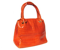 Stunning 2000's TUMERIC Bright ORANGE Crocodile Belly Skin Handbag - G. Borri