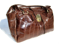 Early 2000's XXL Dark Brown CROCODILE Belly Skin SATCHEL Shoulder Travel Bag - MAURO GOVERNA