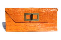 Turmeric ORANGE 1990's-2000's Crocodile Belly Skin CLUTCH Shoulder Bag - ITALY