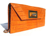 Burnt ORANGE & Tan 1990's-2000's Crocodile Belly Skin CLUTCH Shoulder Bag - ITALY