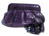 Stunning 1990's-2000's VIOLET PURPLE Crocodile Skin Clutch Shoulder Bag - Gonzalez Style!