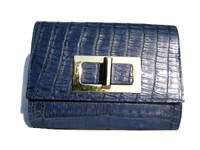 ECLIPSE Blue 1990's-2000's Crocodile Belly Skin CLUTCH Shoulder Bag - ITALY