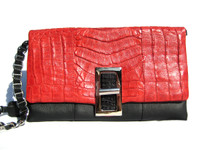 Color Block Black & RED 1990's-2000's Crocodile Belly Skin & Leather Shoulder Bag - ITALY