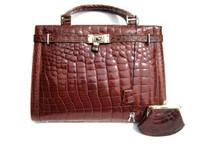 J. PEREZ 1990's Chestnut CROCODILE Belly Skin Belted Handbag w/Lock & Key - ITALY - Hermes Style