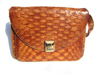 RARE Cognac 1960's  Anteater Pangolin Skin Shoulder Bag - LORENZI