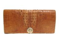 Unisex BOHO Tan 1960's Hornback Crocodile Skin Bag
