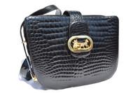 Gorgeous Jet Black 1950's-60's LOUISE FONTAINE Crocodile Bidente Shoulder Bag