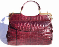 XL 1990's Oxblood Red CROCODILE Skin TOTE Clutch Shoulder Bag