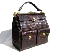 XL 14 x 14 Dark Brown 1960's Crocodile Skin Travel Bag Case!