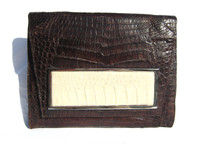Brown & Cream 1990's-2000's Crocodile Belly Skin CLUTCH Shoulder Bag - ITALY