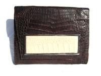 Brown & Cream 1990's-2000's Crocodile Belly Skin CLUTCH Shoulder Bag - ITALY