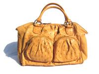 XL MUSTARD Yellow 1990's-2000's Ostrich Skin Handbag Satchel