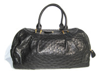 Stunning XL 15 x 10 NEW Early 2000's Jet BLACK OSTRICH Skin SATCHEL Travel Shoulder Bag