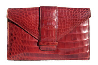 Classic  RED 1950's ALLIGATOR Belly Skin Clutch Bag - ARGENTINA
