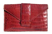 Classic  RED 1950's ALLIGATOR Belly Skin Clutch Bag - ARGENTINA