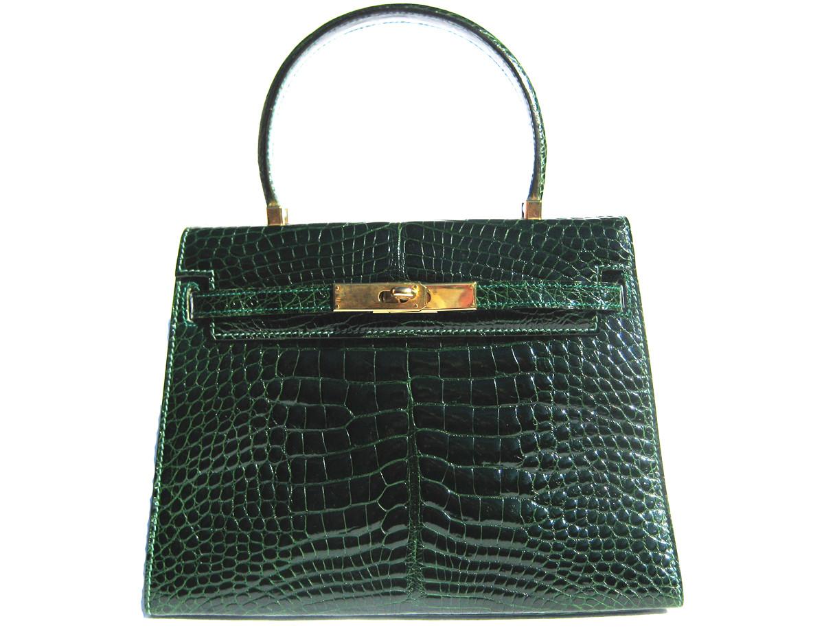a1a8dac705e9 Stunning GREEN ALLIGATOR Belly Skin BIRKIN Bag SATCHEL Bag - HERMES ...