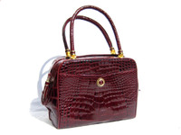 Early 2000's Burgundy RED CROCODILE Skin TOTE Clutch Shoulder Bag