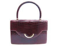 Stunning BURGUNDY RED 1990's CROCODILE POROSUS Handbag - SPREAFICO - HERMES Quality - Italy