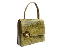 Gorgeous MOSS GREEN 1950's-1960's TURTLE Skin Handbag