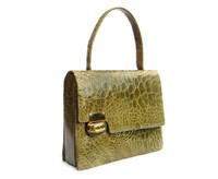 Gorgeous MOSS GREEN 1950's-1960's TURTLE Skin Handbag