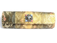 Stunning Jeweled Gold, Blue & Pink Python Snake Skin Clutch Shoulder Bag - Falchi