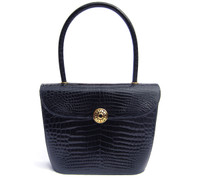 Stunning Early 2000's NAVY BLUE Crocodile Porosus Belly Skin Handbag - PARIS!