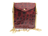 Oxblood RED 1980's-90's Alligator Belly Skin Shoulder Bag