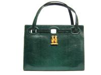 Stunning MARTIN VAN SCHAAK 1950's-60's GREEN Lizard Skin Handbag - OWLS!