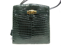 Dark TEAL GREEN CROCODILE Belly Skin KELLY Style SATCHEL Shoulder Bag - HERMES - ITALY