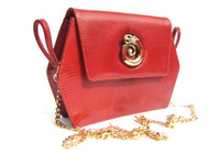 RED 1960's MARTIN VAN SCHAAK Lizard Skin Shoulder CROSS BODY Bag - DRAGON!