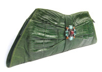 "17"" Long GREEN Embellished 1940's-50's Deco Style Lizard Skin Clutch Bag - Jewels!"