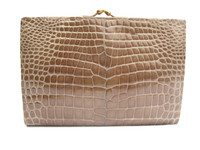 XL 1990's-2000's Dark TAN CROCODILE Belly Skin Wallet & Change Purse