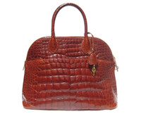 Stunning 16 x 11 BOLIDE Style Cognac XL Premium ALLIGATOR Belly Skin Handbag - Lock & Key!