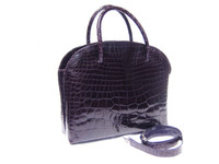 Remarkable 14 x 11 Deep PURPLE Crocodile Belly Skin Handbag Shoulder Bag - MAXIMA