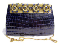 BLUE Jeweled 1960's CROCODILE Skin Shoulder Evening Bag - LA JEUNESSE?