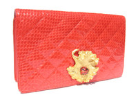 RED 1980's QUILTED COBRA Snake Skin CLUTCH Shoulder Cross-Body Bag with Ladybug - SAKS