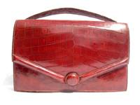 1950's-60's Oxblood RED HERMES Style CROCODILE Caiman Belly Skin Handbag